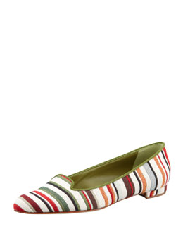 Manolo Blahnik Sharif Striped Fabric Smoking Slipper, Green/Red