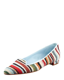Manolo Blahnik Sharif Striped Fabric Smoking Slipper, Multicolor