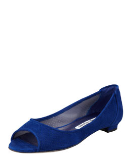 Manolo Blahnik Anetina Perforated Suede Ballerina Flat, Blue