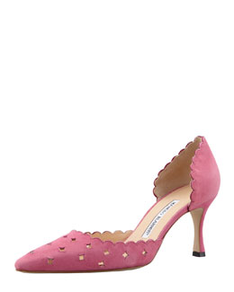 Manolo Blahnik Astro Suede Perforated Pump, Pink