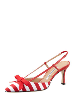 Manolo Blahnik Galop Striped Canvas Halter, Red/White