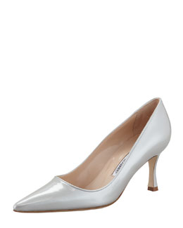 Manolo Blahnik Newcio Patent Leather Pointed Toe Pump, Silver