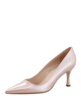 Manolo Blahnik Newcio Patent Leather Pointed Toe Pump, Pink