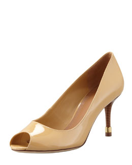 Tory Burch Rea Open-Toe Patent Pump, Ice Coffee