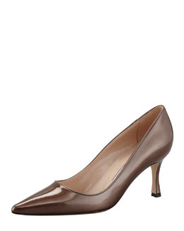 Manolo Blahnik Newcio Patent Leather Pointed Toe Pump, Bronze