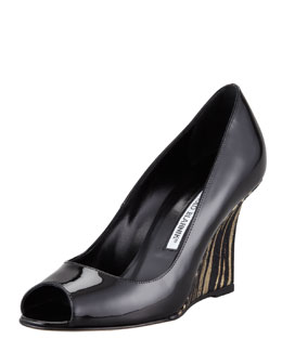 Manolo Blahnik Quello Patent Leather Wedge Pump, Gold/Black