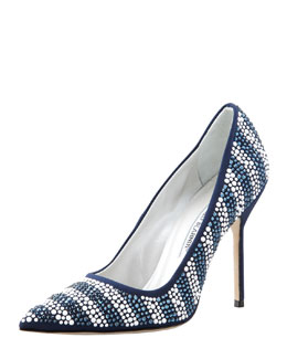 Manolo Blahnik Riga Crystal Striped Pointed-Toe Pump