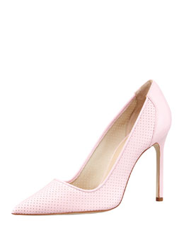 Manolo Blahnik BB Perforated Patent Pump, Pink