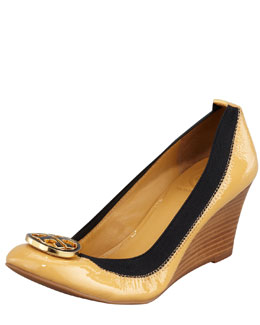 Tory Burch Caroline Logo Wedge, Ice Coffee/Black