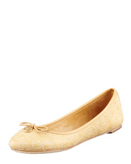 Tory Burch Chelsea Logo-Stitched Ballerina Flat, Ice Coffee