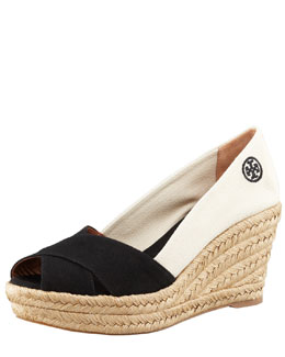 Tory Burch Filipa Colorblock Espadrille, Black/Natural