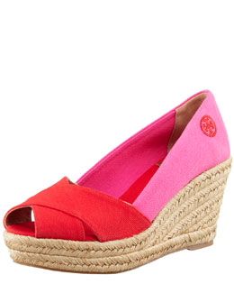 Tory Burch Filipa Colorblock Espadrille, Red/Pink