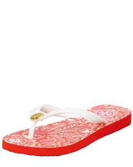 Tory Burch Tropical-Printed Flip-Flop Sandal