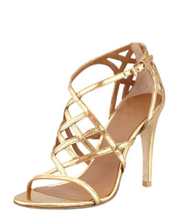 Tory Burch Amalie Metallic Cage Sandal, Gold