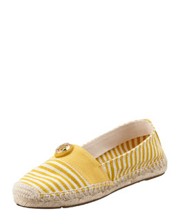 Tory Burch Beacher Canvas Logo Espadrille Flat, Natural/Yellow