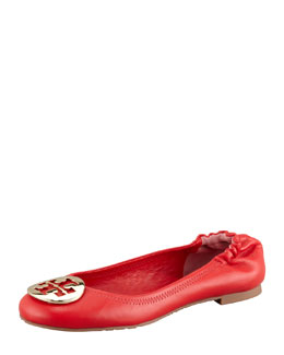 Tory Burch Reva Leather Ballerina Flat, Lobster