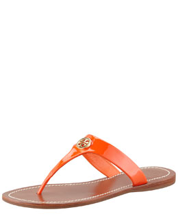 Tory Burch Cameron Patent Logo Thong Sandal, Fire Orange