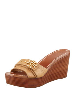 Tory Burch Elina Mid-Wedge Slide Sandal