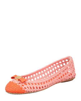 Tory Burch Carlyle Woven Leather Ballerina Flat, Blush Pink/Orange