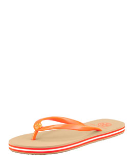 Tory Burch Neon Striped Rubber Flip-Flop