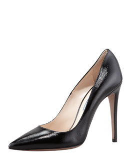 Prada Patent Saffiano Pointed-Toe Pump, Black
