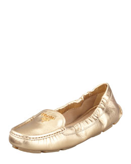 Prada Metallic Leather Scrunch Loafer