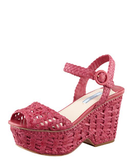 Prada Woven Leather Wedge Sandal, Pink