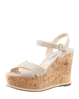 Prada Suede Cork Wedge, Pomice
