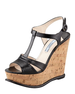 Prada T-Strap Cork Wedge Sandal, Black