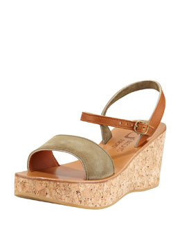 K. Jacques Josy Suede Cork Wedge Sandal, Algae