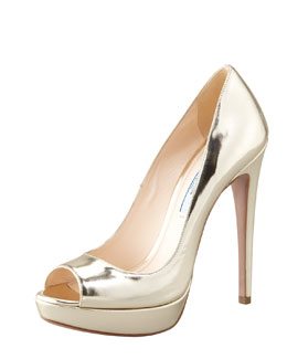 Prada Metallic Peep-Toe Pump, Gold