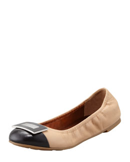 MARC by Marc Jacobs Logo Plaque Ballerina Flat, Nude/Black