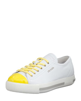 Prada Fluorescent Cap-Toe Leather Platform Sneaker, White