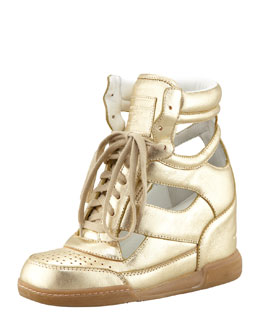 MARC by Marc Jacobs Cutout Wedge Sneaker, Gold