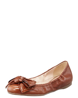 Prada Leather Logo Bow Scrunch Ballet Flat