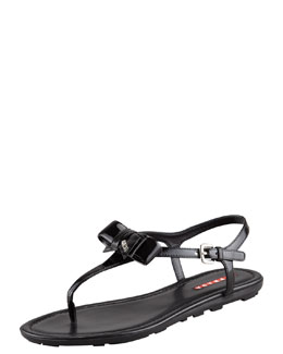Prada Patent Leather Bow Thong Sandal, Black