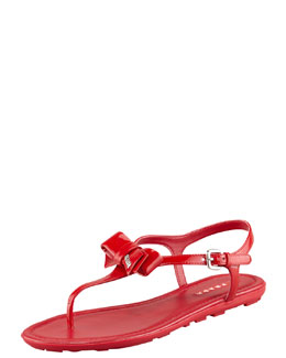 Prada Patent Leather Bow Thong Sandal, Red