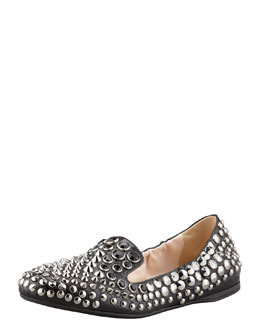 Prada Stud-Jewel Scrunch Smoking Slipper