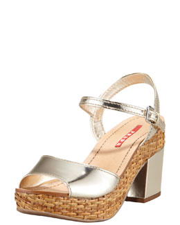 Prada Metallic Leather Wicker Platform Sandal