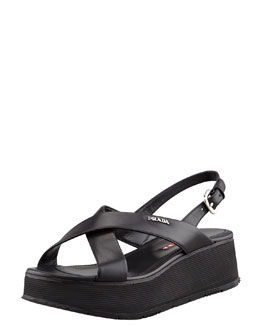 Prada Crisscross Platform Wedge Sandal, Black