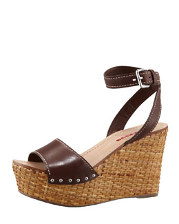 Prada Ankle-Wrap Wicker Wedge Sandal, Teak