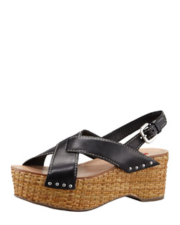 Prada Crisscross Wicker Wedge Sandal, Black
