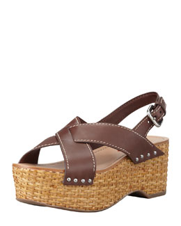 Prada Crisscross Wicker Wedge Sandal