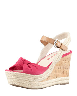 Prada Suede Knotted Band Rope Wedge Sandal, Peonia