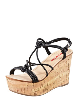 Prada Strappy Knot Cork Wedge Sandal, Black