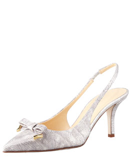kate spade new york jeffie metallic lizard-print slingback pump