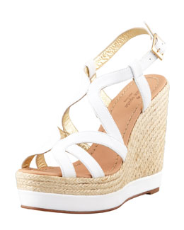 kate spade new york liv tumbled calfskin espadrille wedge, white
