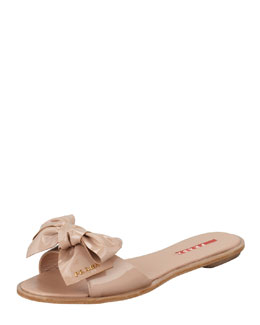 Prada Patent Leather Bow Slide Sandal