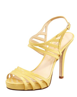 kate spade new york raven patent leather cage sandal, yellow