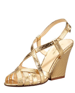 kate spade new york imagine metallic snake-embossed sandal